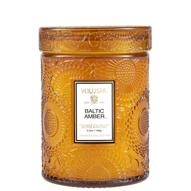 Small Embossed Glass Candle - Baltic Amber