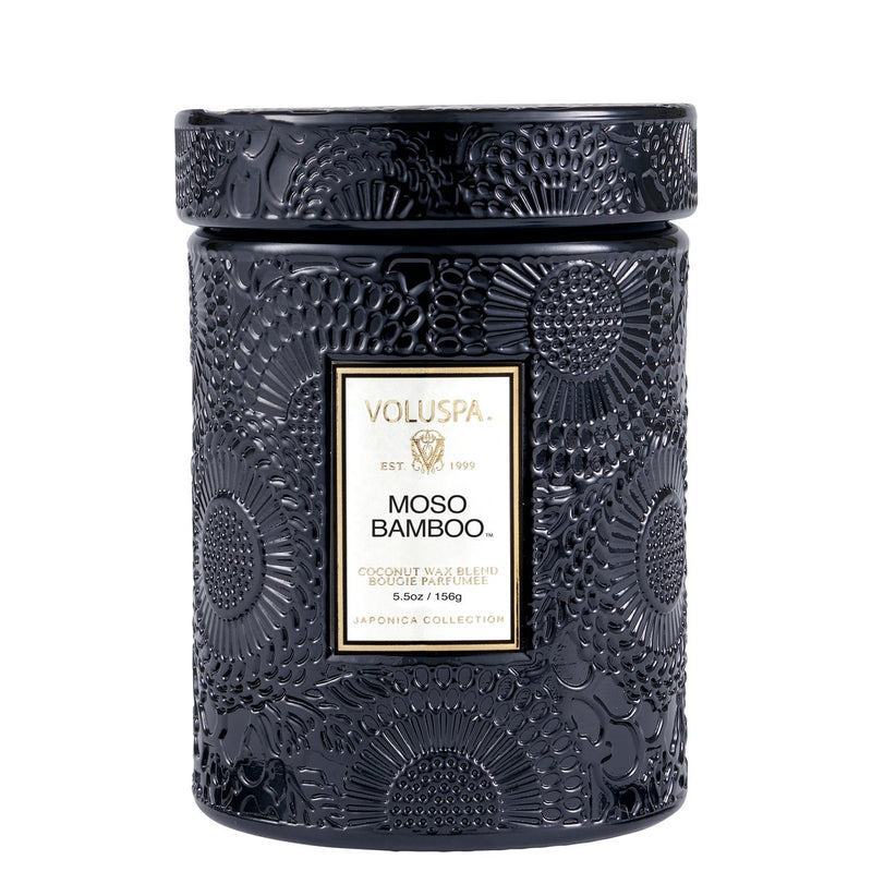 Small Embossed Glass Candle - Moso Bamboo