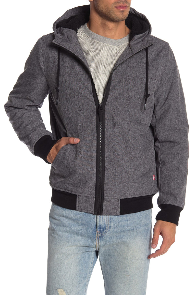 Soft Shell Hooded Bomber Jacket