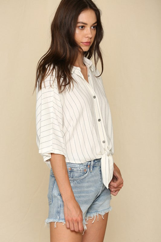 Button Down Collar Crop Front Tie Top