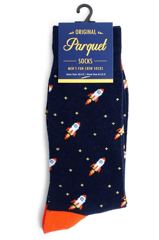 Men's Navy Spaceship Socks