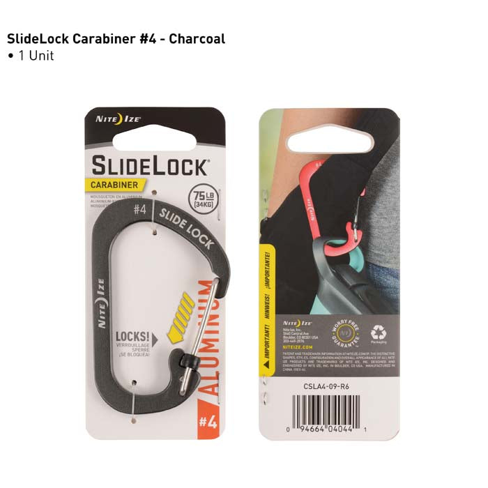 FINAL SALE Nite Ize SlideLock Carabiner Aluminum #4 - Charcoal