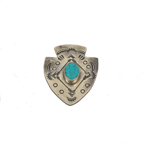 J. Alexander Rustic Silver Arrowhead Pin w/ Turquoise