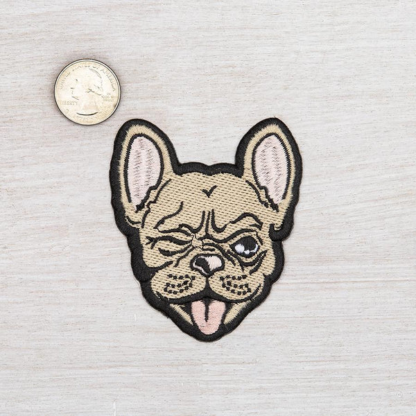French Bulldog Iron On Embroidered Patch