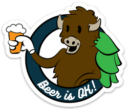 "Beer Is Ok ""Bison w/ Beer"" Sticker"