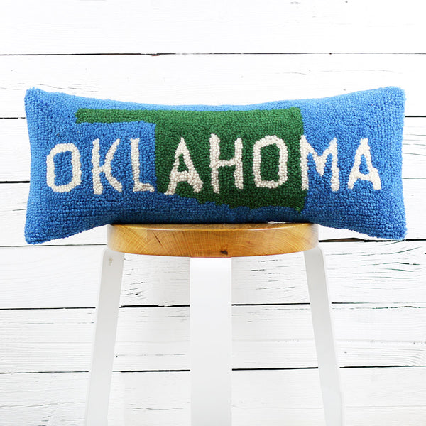 Oklahoma Green/Blue Pillow 8x20