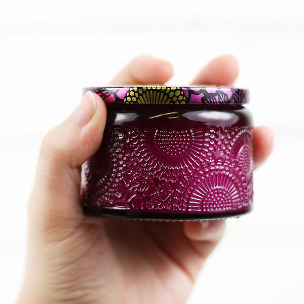 Petite Embossed Candle - Santiago Huckleberry
