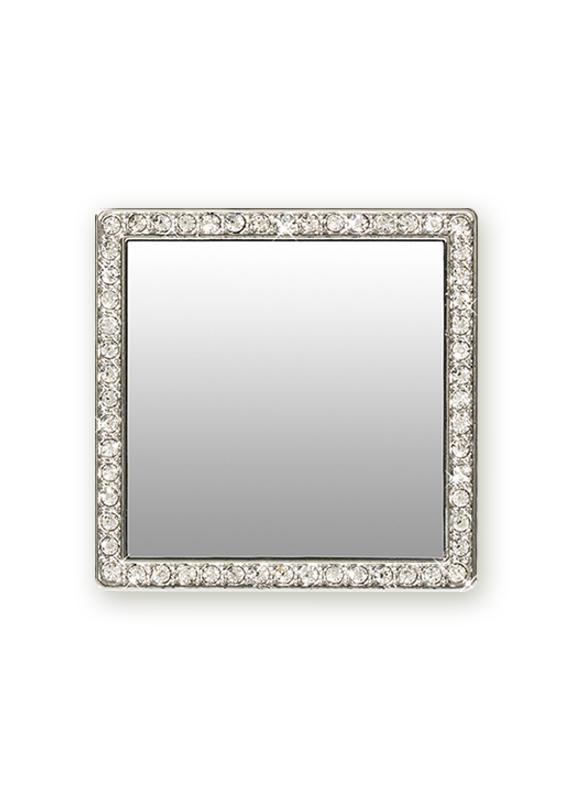 FINAL SALE iDecoz Square Selfie Mirror - Silver/Clear Crystals