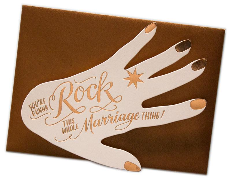 Ladyfingers Letterpress Card - Deluxe Rock this Marriage