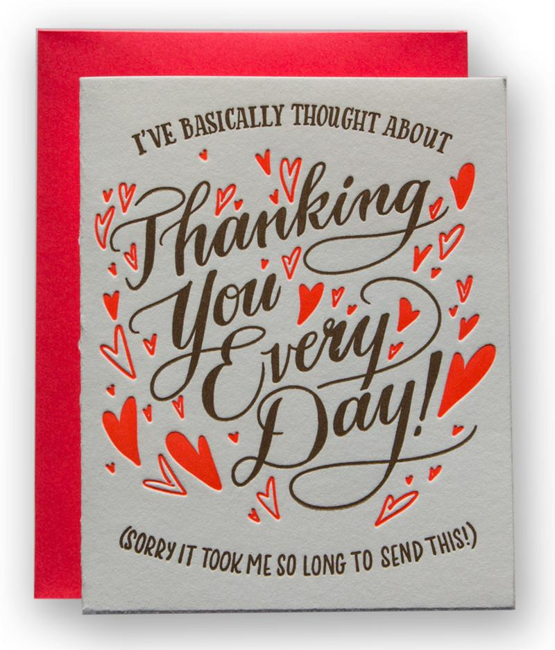 FINAL SALE Ladyfingers Letterpress Card - Thanking You Every Day
