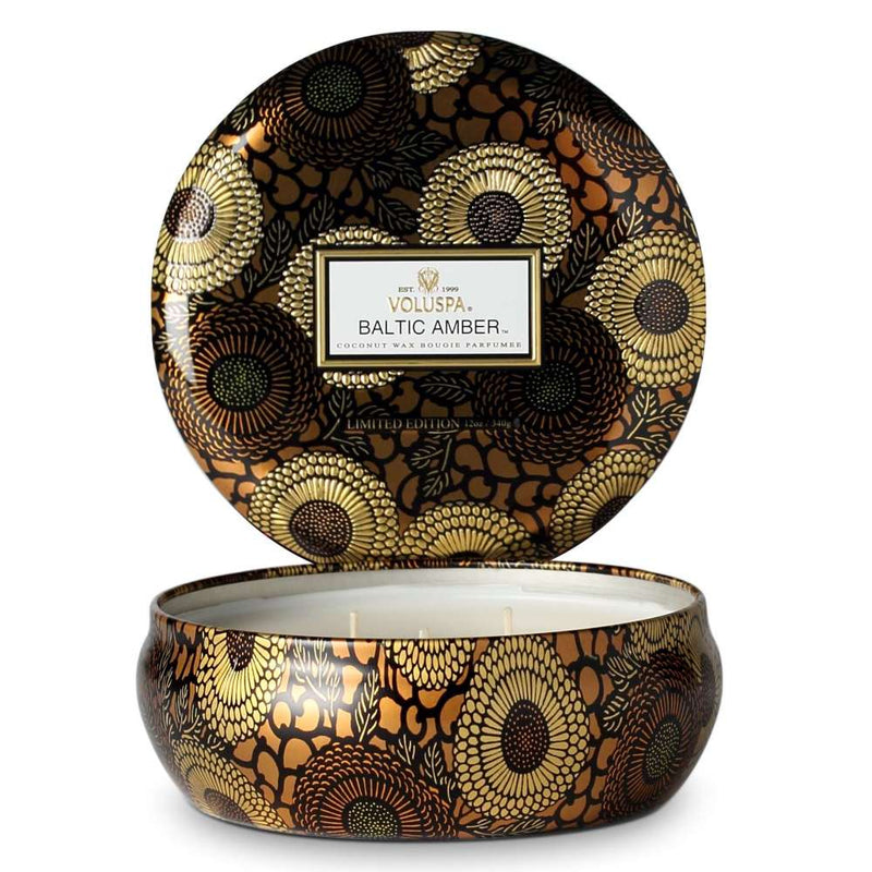 Limited Edition Baltic Amber 3 Wick Candle in Decorative Tin