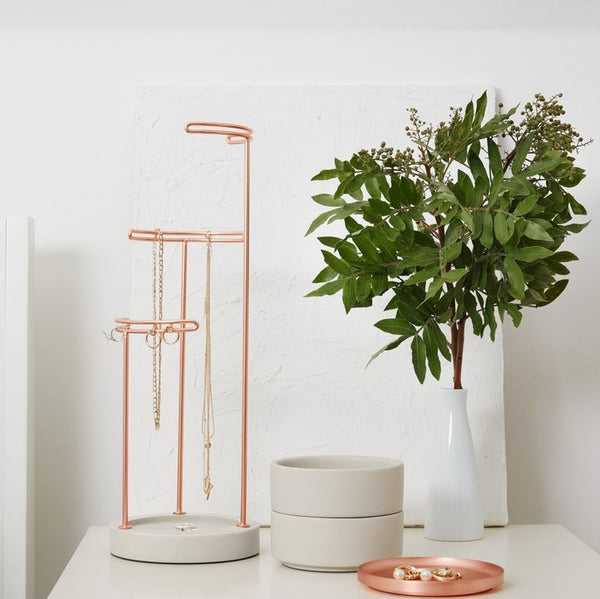 Tesora Jewelry Stand - Concrete/Copper
