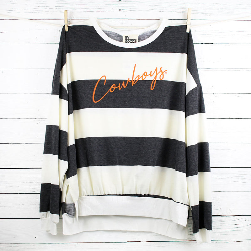 FINAL SALE Cowboys Thin Script Stripe Side Slit Sweatshirt