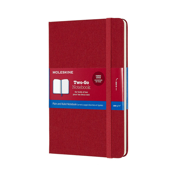 Two-Go Ruled/Plain Medium Notebook - Cranberry Red