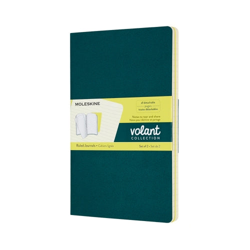 Volant Ruled Large Journal - Pine Green/Lemon Yellow