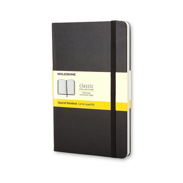 Classic Large Squared Hard Cover Notebook - Black