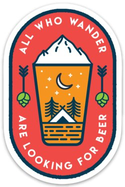 "Beer Is OK ""All Who Wander"" Oval Sticker"