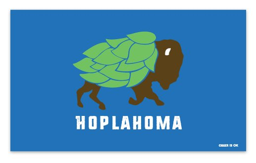 Beer is OK Hoplahoma Flag Sticker