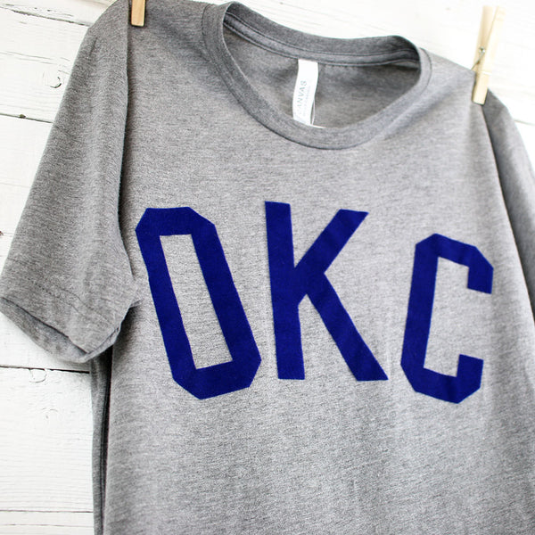 FINAL SALE Grey Oklahoma Flocked Tee