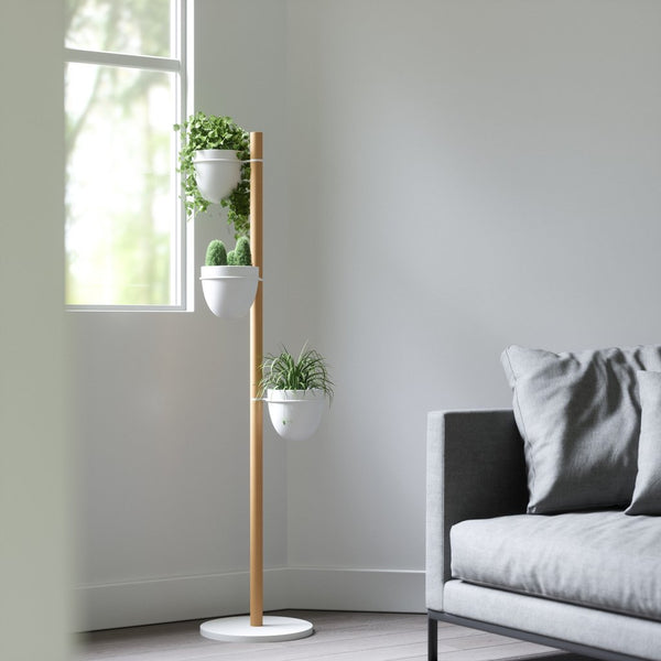 Floristand Planter - White/Natural
