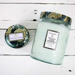 Large Embossed Glass Candle - French Cade Lavender