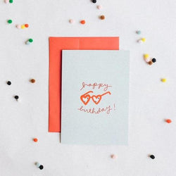 Heart Glasses Happy Birthday Card