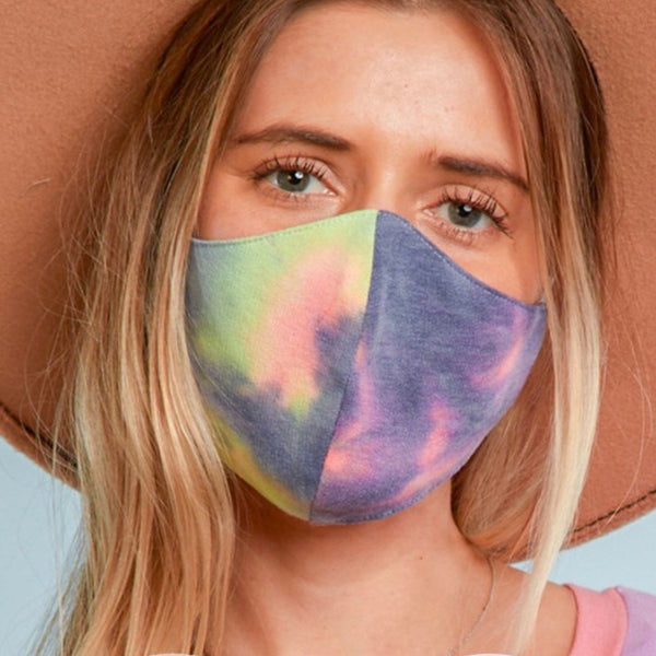 Cotton Jersey Hand Made Mask-Denim/Yellow/Pink