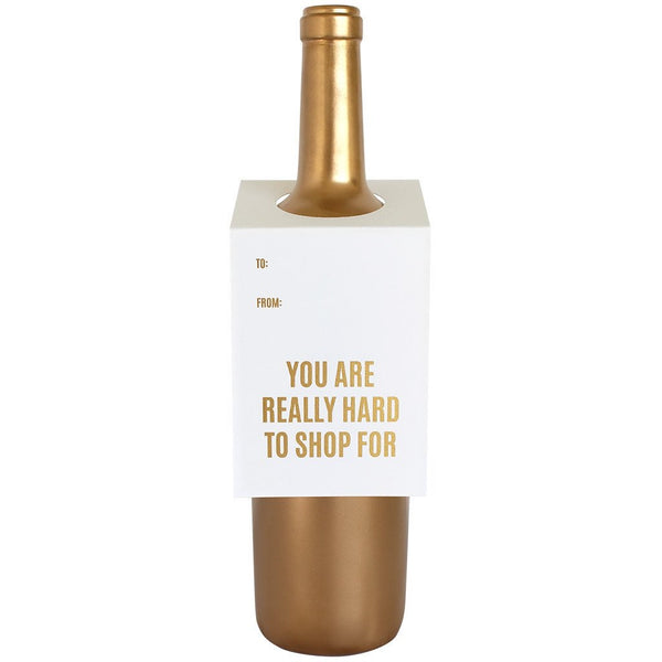 Hard To Shop For Gold Wine/Spirit Tag