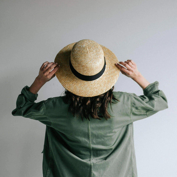 Faye Short Natural Straw Boater Brim Hat