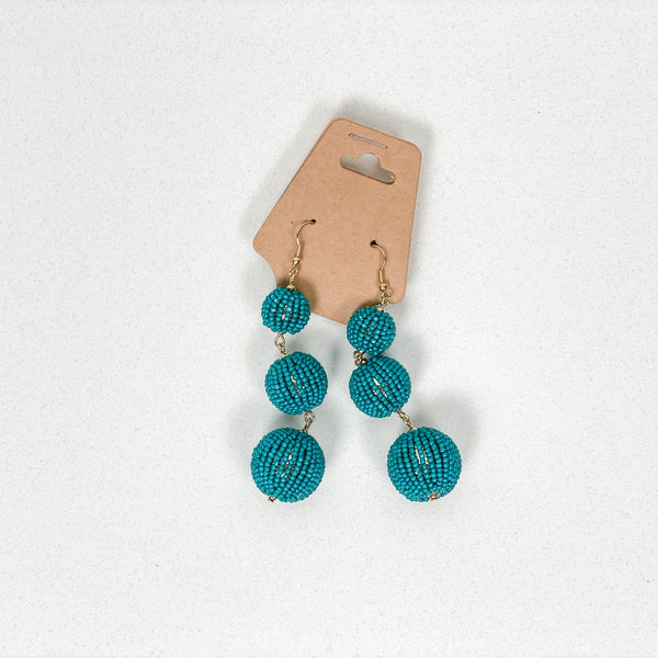 Linked Round Seed Beads Dangling Earrings