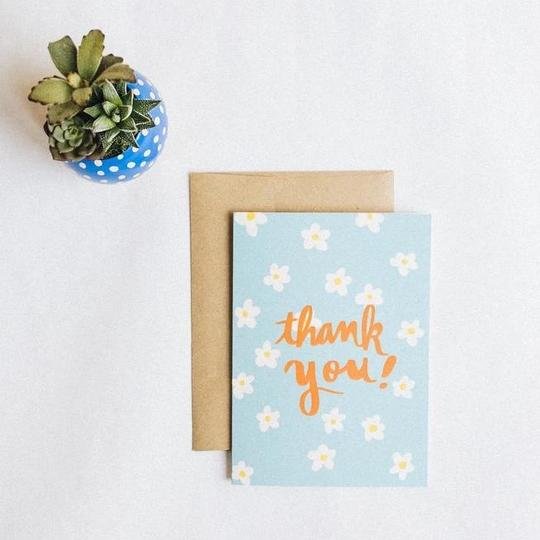 Retro Daisy Thank You Card