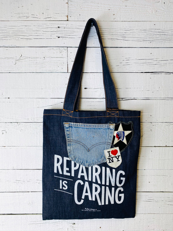 Nudie Jeans Repairing is Caring Tote with Vintage Patches