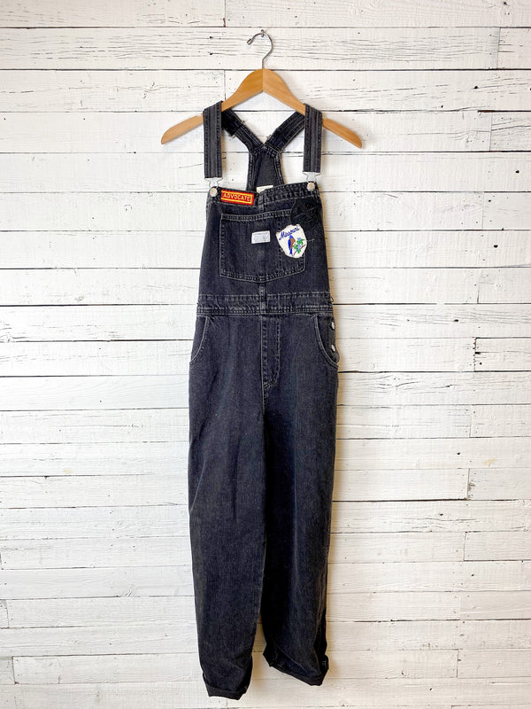 Levi's Black Overalls with Vintage Patches