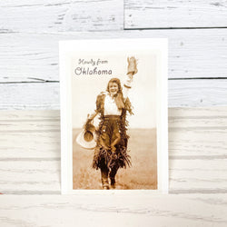 Howdy from Oklahoma Cowgirl Postcard