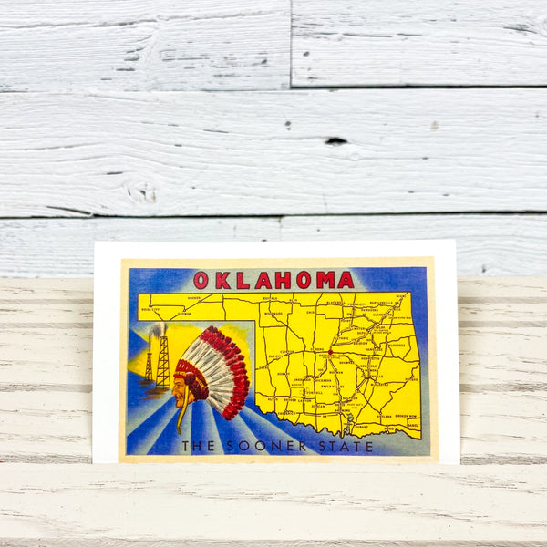 The Sooner State Map Postcard