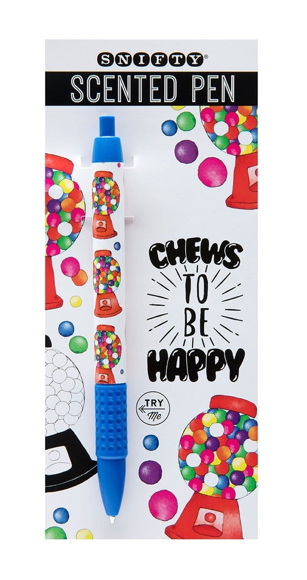 Chews To Be Happy Bubble Gum Carded Pen