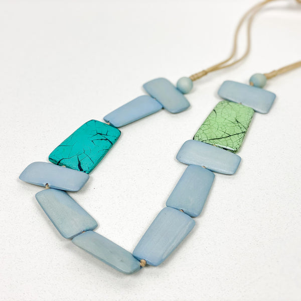 Rectangular Cut Wood Rope Pull Tie Necklace