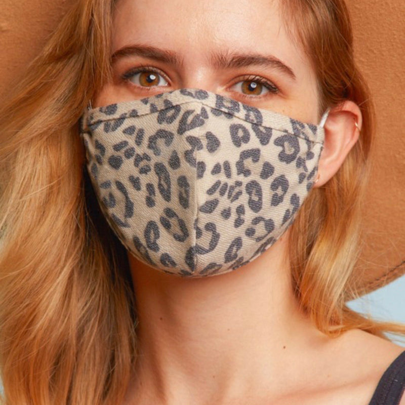 Taupe Animal Print Face Mask