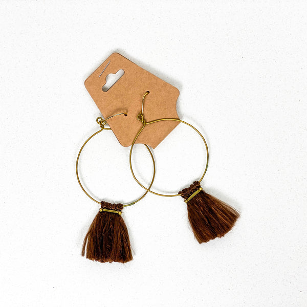 Burnished Brass Tassel Earrings