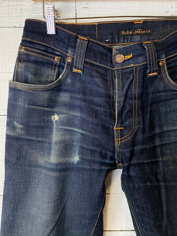 Worn in Nudie Grim Tim Dry Navy Denim