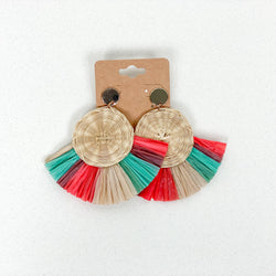 Round Shaped Rattan Earrings -  Mint