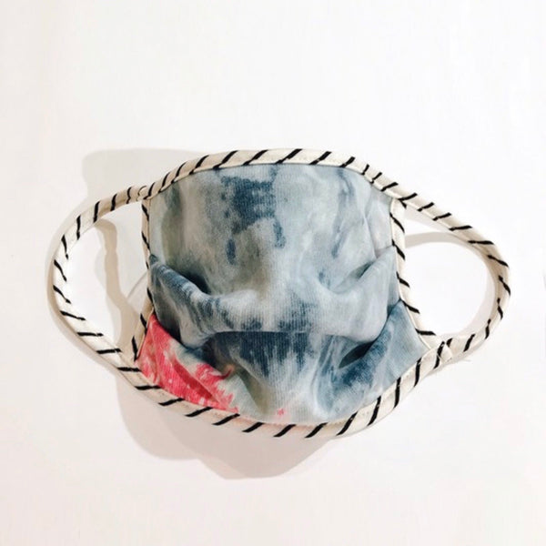 Blue/Pink Tie Dye w/ Stripe Face Mask