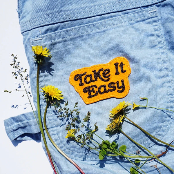 Take It Easy Chain Stitched Patch (Goldenrod)