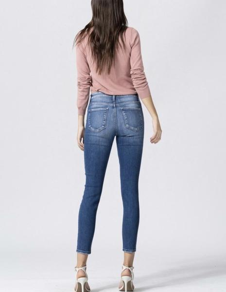 Button Up Crop Skinny High Rise