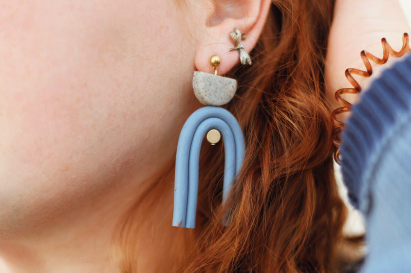 Cornflower + Granite Double Arc Earrings