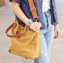 Mustard Drawstring Canvas Bag