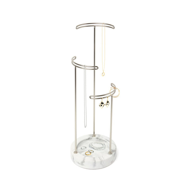 Tesora Jewelry Stand - White/Nickel