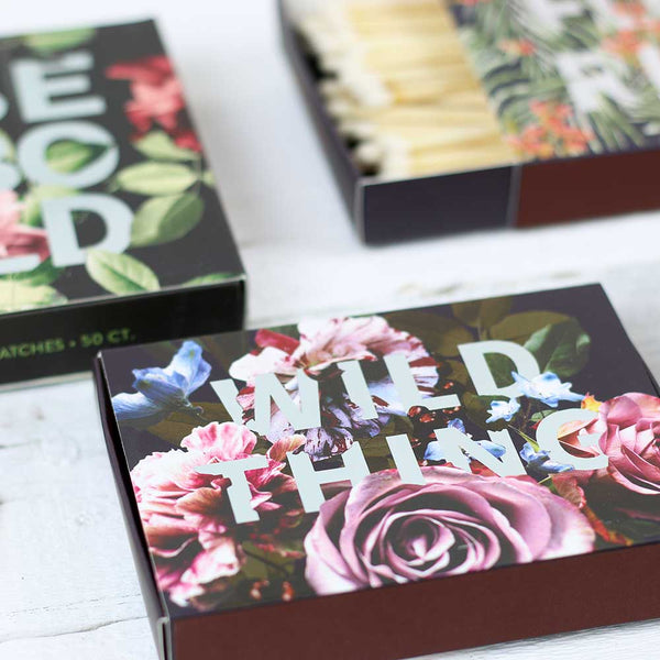 Floral Typography Decorative Matchbox Assortment