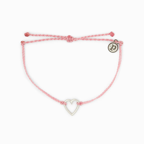 Open Heart Silver Bracelet - Light Pink