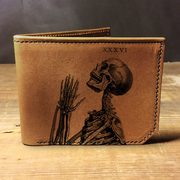 Backerton Leather Wallet - Praying Skeleton